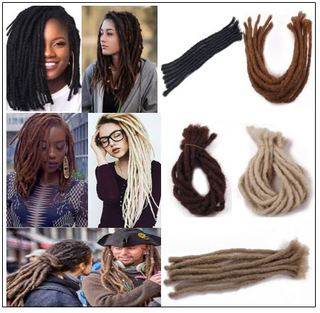 Medium Dreadlocks Extensions For Men and Women Synthetic Hair 5 Colors img-min