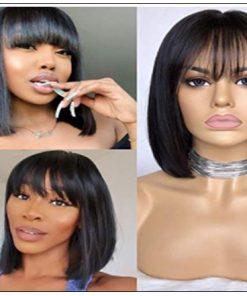 Natural Color Natural Bob Wig Lace Front Realistic Human Hair Wigs With Bangs 2-min
