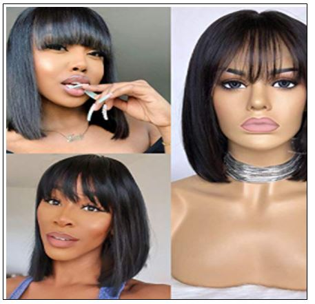 Natural Color Natural Bob Wig Lace Front Realistic Human Hair Wigs With Bangs 2-min