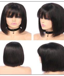 Natural Color Natural Bob Wig Lace Front Realistic Human Hair Wigs With Bangs 3-min