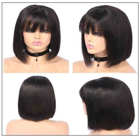 Natural Color Natural Bob Wig Lace Front Realistic Human Hair Wigs With Bangs 3-min