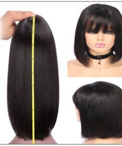Natural Color Natural Bob Wig Lace Front Realistic Human Hair Wigs With Bangs 4-min