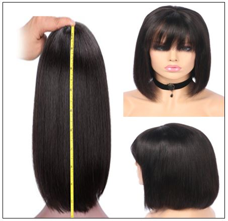 Natural Color Natural Bob Wig Lace Front Realistic Human Hair Wigs With Bangs 4-min