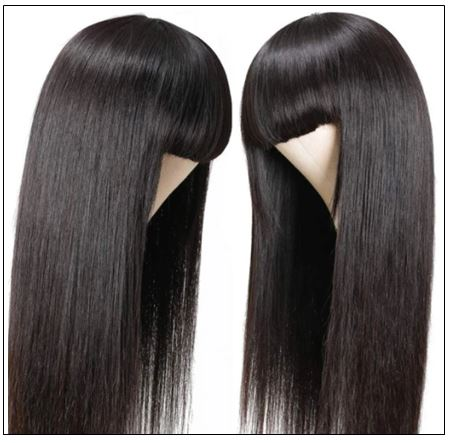 New Arrival Long Straight Machine Made Wig With Full Bangs 22 Inch High End Human Hair Wigs 2.-min