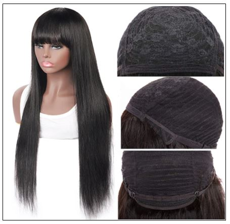 New Arrival Long Straight Machine Made Wig With Full Bangs 22 Inch High End Human Hair Wigs 3-min
