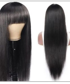 New Arrival Long Straight Machine Made Wig With Full Bangs 22 Inch High End Human Hair Wigs 4-min