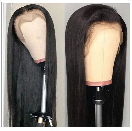 New Design Pre Plucked Natural Hairline 100% Straight Human Virgin Hair Lace Front Wigs 3-min