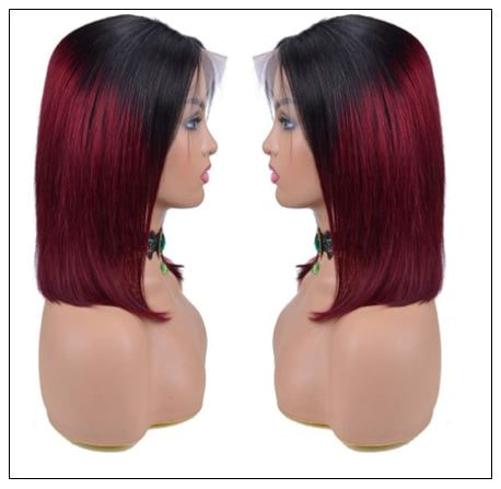 Ombre Black To Red Color Wig Lace Frontal Straight Hair Bob Wig 2..-min