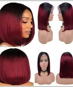 Ombre Black To Red Color Wig Lace Frontal Straight Hair Bob Wig 3-min