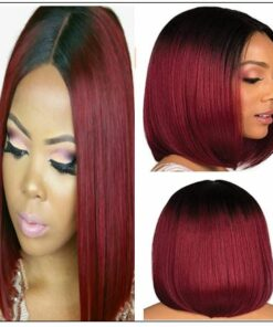Ombre Black To Red Color Wig Lace Frontal Straight Hair Bob Wig img-min