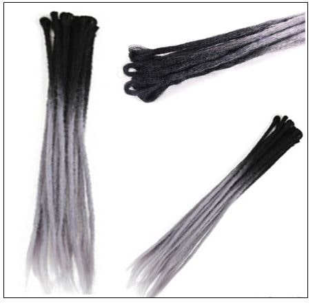 Ombre Black and Gray 2-38 Color Crochet Dreads Hair Synthetic Dreadlocks Extensions 3-min