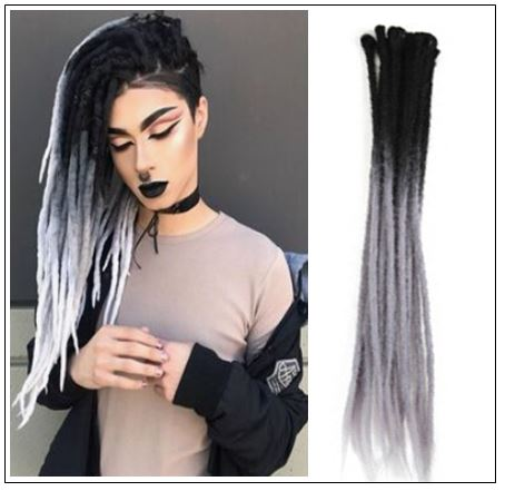 Ombre Black and Gray 2-38 Color Crochet Dreads Hair Synthetic Dreadlocks Extensions img-min