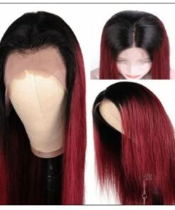 Ombre Human Hair Wig 1B99J Burgundy Wig 4x4 Lace Closure Wig Straight Human Hair Lace Wigs img 2-min