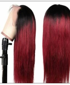 Ombre Human Hair Wig 1B99J Burgundy Wig 4x4 Lace Closure Wig Straight Human Hair Lace Wigs img 3-min