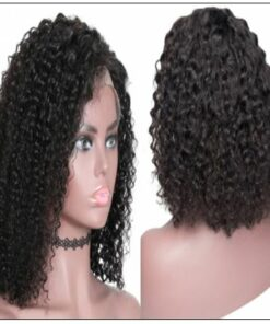 Popular 8 -14 Inch Length Natural Black Human Hair Bobo Curly Wig With Hand-tied Lace 2-min