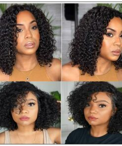 Popular 8 -14 Inch Length Natural Black Human Hair Bobo Curly Wig With Hand-tied Lace 3-min