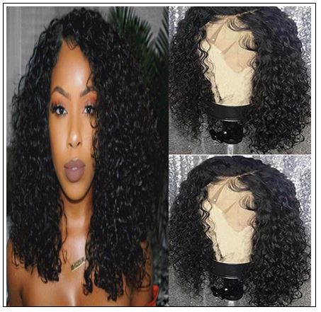 Popular 8 -14 Inch Length Natural Black Human Hair Bobo Curly Wig With Hand-tied Lace img-min