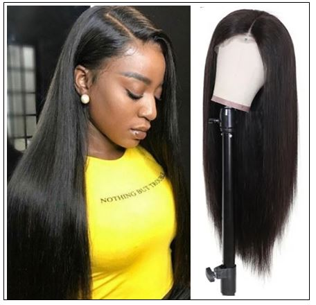 Pre Made Glueless Fake Scalp Lace Frontal Straight Wig Silky Straight Natural Black Hair Wigs With Baby Hair 12-26 Inch img-min