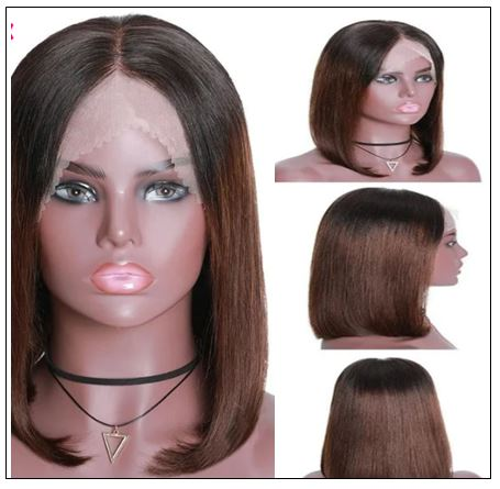 Short Straight Bob Wigs Virgin Human Hair Lace Front Wigs 13x4 T1B4 Ombre Color Wig 150% Density Pre Plucked with Baby Hair 3-min