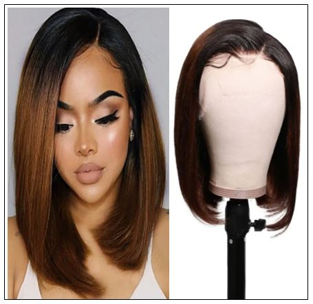 Short Straight Bob Wigs Virgin Human Hair Lace Front Wigs 13x4 T1B4 Ombre Color Wig 150% Density Pre Plucked with Baby Hair img-min