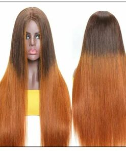 Silk Straight Wig PU Silk Base Wig Middle Part 4.5x1.5 Fake Scalp Wig 150% Density Copper Color Wig img 2-min
