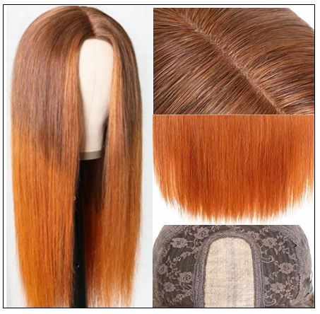 Silk Straight Wig PU Silk Base Wig Middle Part 4.5x1.5 Fake Scalp Wig 150% Density Copper Color Wig img 3-min