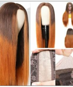 Silk Straight Wig PU Silk Base Wig Middle Part 4.5x1.5 Fake Scalp Wig 150% Density Copper Color Wig img 4-min