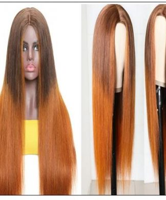 Silk Straight Wig PU Silk Base Wig Middle Part 4.5x1.5 Fake Scalp Wig 150% Density Copper Color Wig img-min