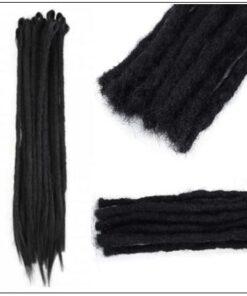Straight Dreadlock Extensions Crochet Synthetic Dreadlocks Black Color 3-min