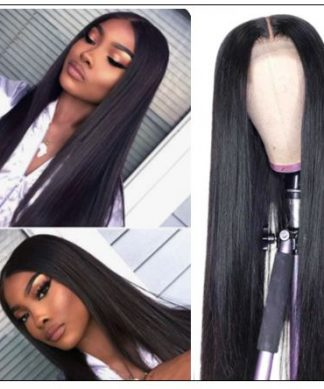 Straight Full Lace Human Hair Wigs 150% Density Remy Hair Wig For Black Women img