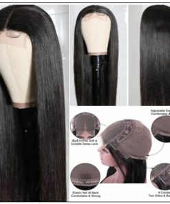 Straight Human Hair 4x4 Lace Closure Wig Natural Black Human Hair Lace Wigs for Black Women img 2-min