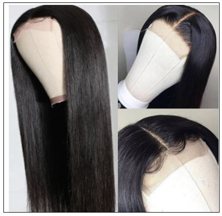Straight Human Hair 4x4 Lace Closure Wig Natural Black Human Hair Lace Wigs for Black Women img 3-min