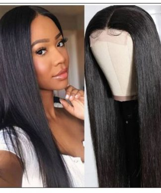 Straight Human Hair 4x4 Lace Closure Wig Natural Black Human Hair Lace Wigs for Black Women img-min