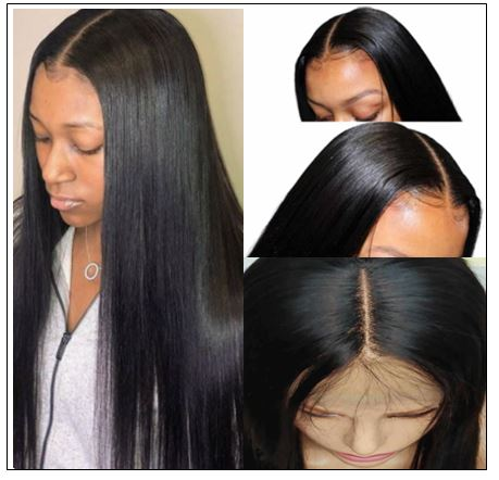 Straight Human Hair Wigs Middle Part Lace Wigs Pre Plucked Natural Hairline Long Wig img 3-min