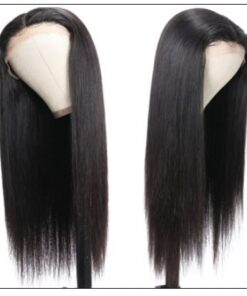 Straight T Part 13x5x0.5 Lace Front Human Hair Wig Natural Black Middle Part Lace Wig for Women 150% Density 2-min