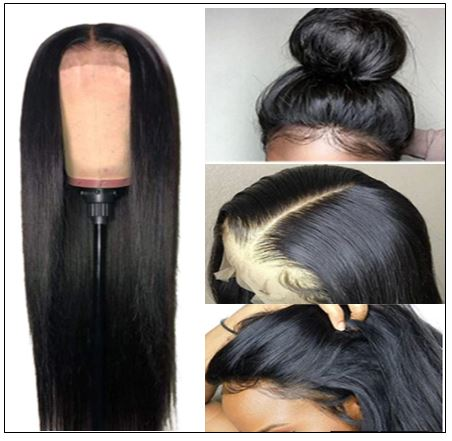Straight T Part 13x5x0.5 Lace Front Human Hair Wig Natural Black Middle Part Lace Wig for Women 150% Density 2