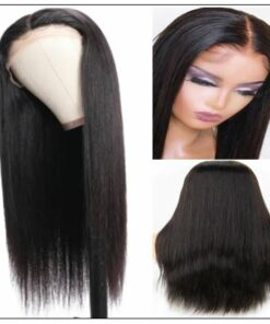 Straight T Part 13x5x0.5 Lace Front Human Hair Wig Natural Black Middle Part Lace Wig for Women 150% Density 3-min