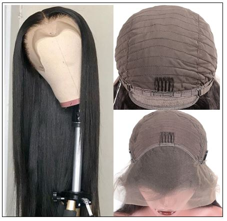 Straight T Part 13x5x0.5 Lace Front Human Hair Wig Natural Black Middle Part Lace Wig for Women 150% Density 4