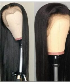 Straight T Part 13x5x0.5 Lace Front Human Hair Wig Natural Black Middle Part Lace Wig for Women 150% Densityb 3