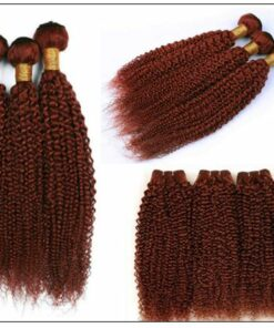 33#Red Brown Kinky Curly Blonde Human Hair Weave 2-min
