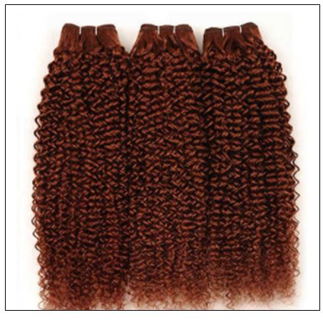 33#Red Brown Kinky Curly Blonde Human Hair Weave 4-min