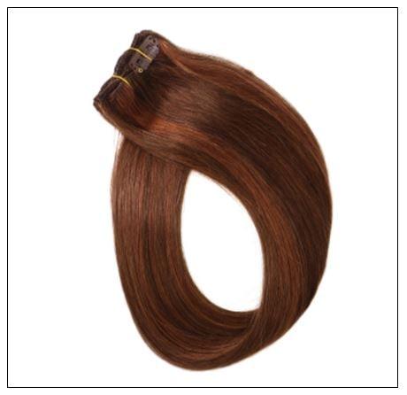 #4 30 Medium Brown Auburn Straight 100% Remy Hair Clip In Human Hair Extensions 2-min
