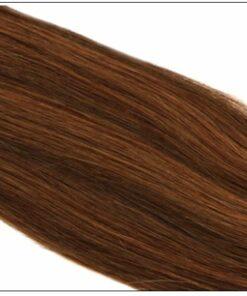 #4 30 Medium Brown Auburn Straight 100% Remy Hair Clip In Human Hair Extensions 3-min