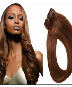 #4 30 Medium Brown Auburn Straight 100% Remy Hair Clip In Human Hair Extensions img-min
