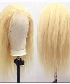 613 Kinky Straight Wig Blonde Human Hair Lace Front Wigs Pre Plucked With Baby Hair Remy Yaki Transparent Lace Frontal Wig 2-min