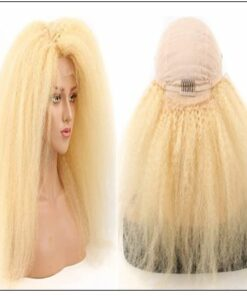 613 Kinky Straight Wig Blonde Human Hair Lace Front Wigs Pre Plucked With Baby Hair Remy Yaki Transparent Lace Frontal Wig 4-min