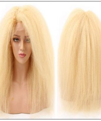 613 Kinky Straight Wig Blonde Human Hair Lace Front Wigs Pre Plucked With Baby Hair Remy Yaki Transparent Lace Frontal Wig img-min