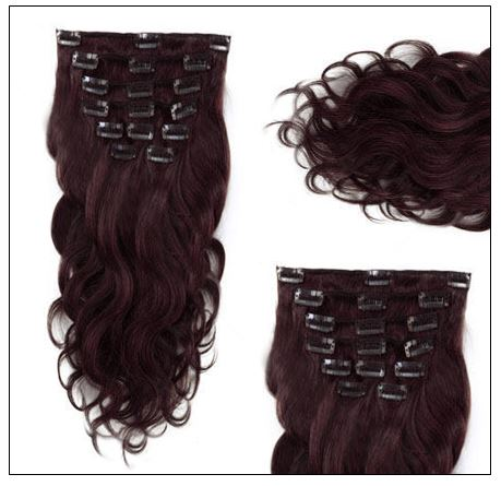 #99J Dark Plum Red Body Wave 100% Remy Hair Clip In Human Hair Extensions 2-min