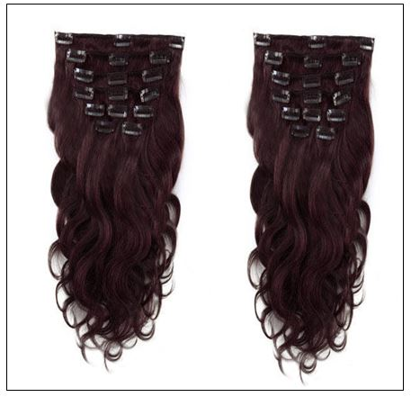 #99J Dark Plum Red Body Wave 100% Remy Hair Clip In Human Hair Extensions 3-min