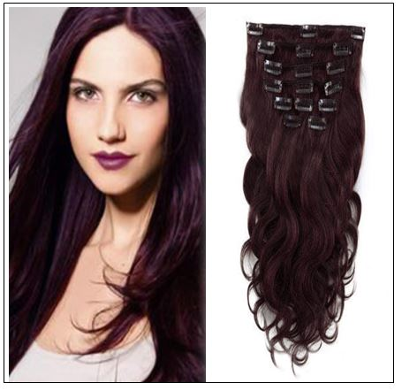 #99J Dark Plum Red Body Wave 100% Remy Hair Clip In Human Hair Extensions img-min